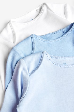 Blue 5 Pack GOTS Organic Cotton Long Sleeve Bodysuits (0mths-3yrs)