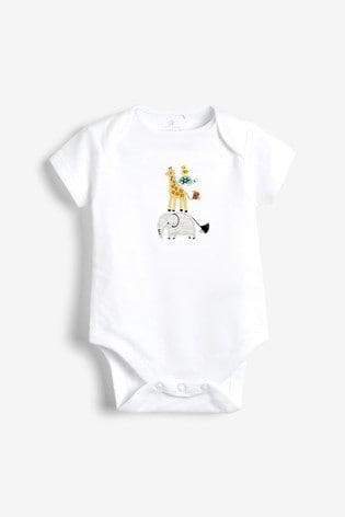 Ecru 5 Pack GOTS Organic Cotton Animal Short Sleeve Bodysuits (0mths-3yrs)