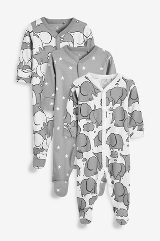 Grey 3 Pack Elephant Sleepsuits (0mths-2yrs)