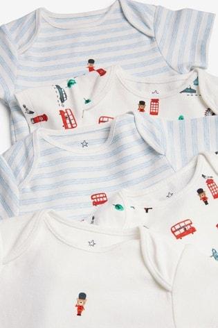 White 5 Pack Bus Print Short Sleeve Bodysuits (0mths-3yrs)