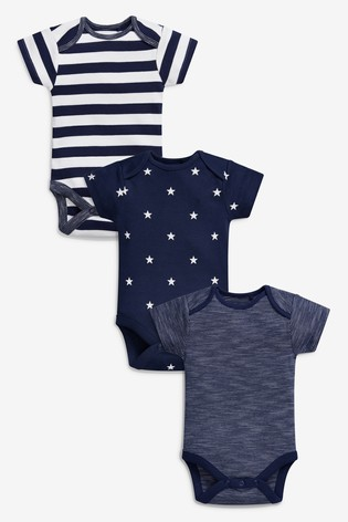 Navy/White 3 Pack Stripe And Star Short Sleeve Bodysuits (0mths-2yrs)