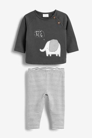 Monochrome Sweater And Leggings Elephant Set (0mths-2yrs)
