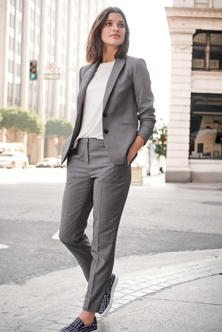 Grey Sharkskin Texture Slim Trousers