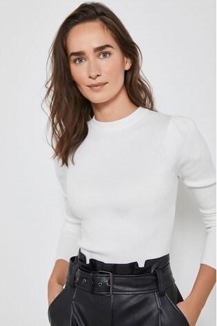 Mint Velvet White Ivory Puff Shoulder Rib Jumper