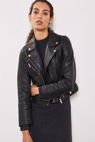 Mint Velvet Grey Smoke Leather Biker Jacket
