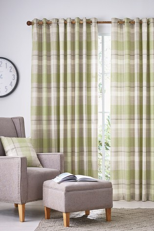 Helena Springfield Nora Check Lined Eyelet Curtains