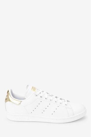 adidas Originals White/Gold Stan Smith Trainers