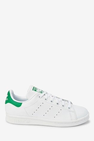 adidas Originals White/Green Stan Smith Youth Trainers