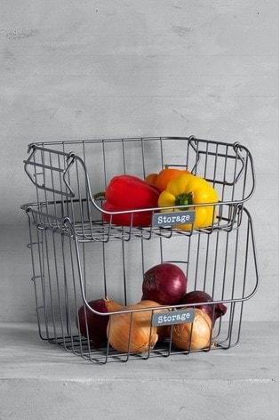 Set of 2 Stacking Storage Baskets