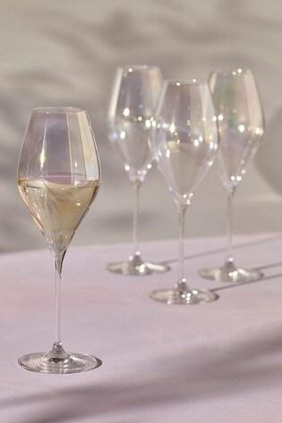 Paris Lustre Effect Set of 4 White Wine Glasses