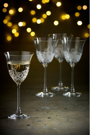 Lucia Floral Set of 4 Wine Glasses