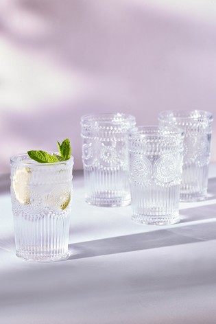 Amelie Embossed Set of 4 Tumbler Glasses