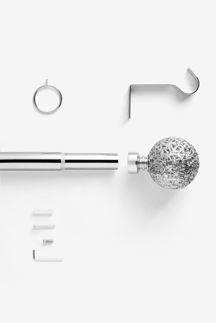 Brushed Silver Extendable Oriana 28mm Curtain Pole Kit