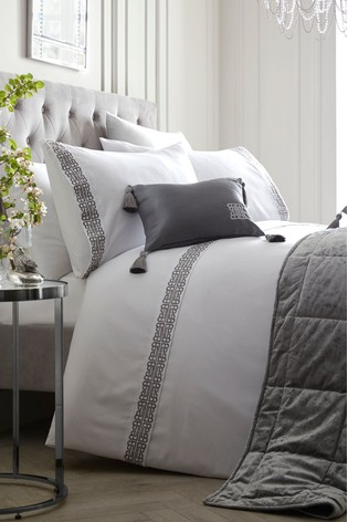 Embroidered Monoglam Duvet Cover and Pillowcase Set by Laurence Llewelyn-Bowen