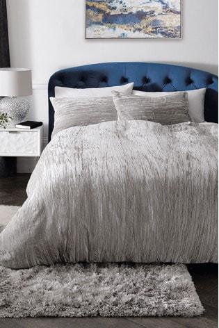 Crinkle Velvet Duvet Cover And Pillowcase Set