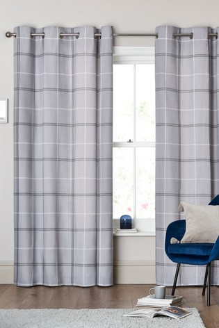 Versatile Check Eyelet Curtains