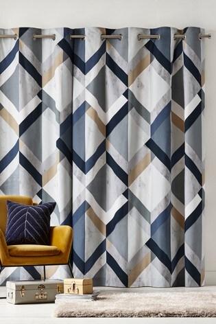 Overscale Bold Geo Eyelet Curtains