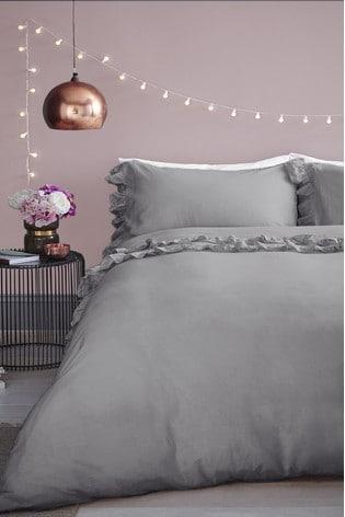 Maison Grey Stone Wash Ruffle Cotton Duvet Cover And Pillowcase Set