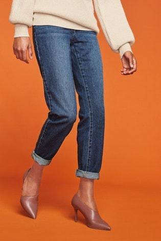 Inky Blue Mid Rise Boyfriend Jeans