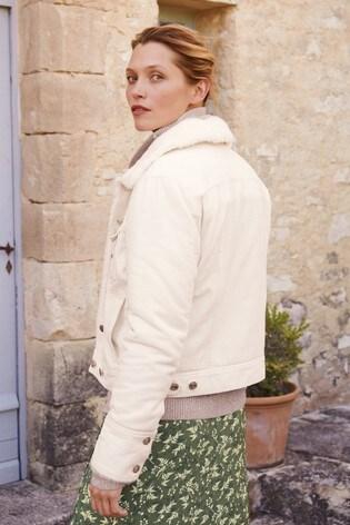 Ecru Faux Fur Lined Cord Jacket
