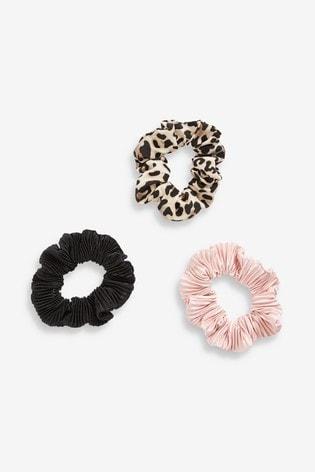 Leopard/Pink/Black Scrunchies Three Pack