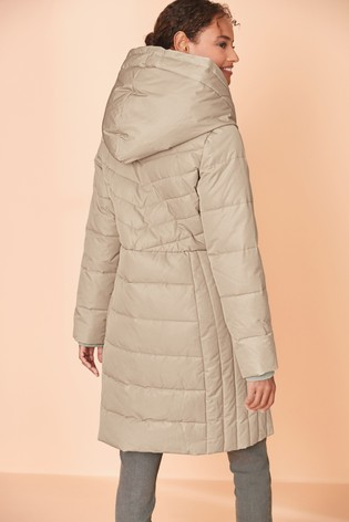 Stone Double Layer Long Padded Coat