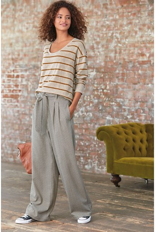 Neutral Check Wide Leg Trousers