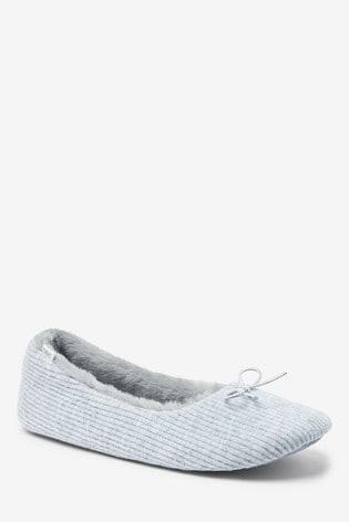 Buy Grey Rib Ballerina Slippers from