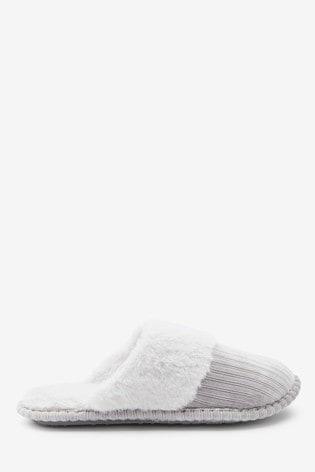 Grey Cord Mule Slippers