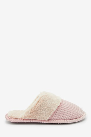 Pink Cord Mule Slippers