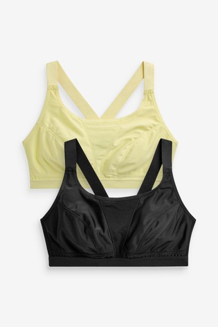Black/Lime High Impact Sports Crop Tops Two Pack