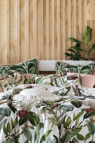 Set of 2 Wonderplant Botanical Leaf Pillowcases by Linen House