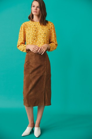 Tan Suede Button Pencil Skirt