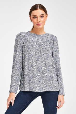 Blue/White Paisley Print Long Sleeve Yoke Detail T-Shirt