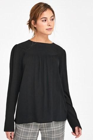 Black Long Sleeve Yoke Detail T-Shirt