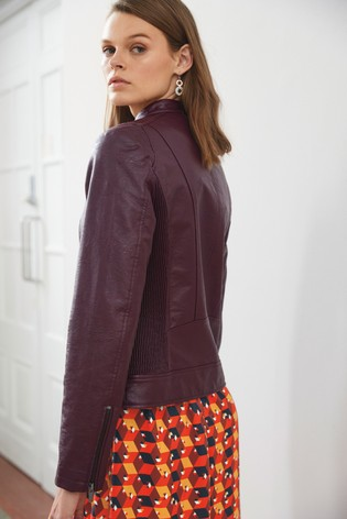 Berry Faux Leather Collarless Jacket