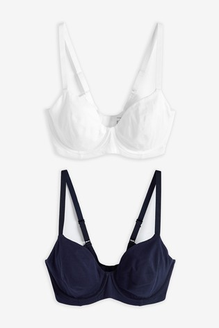 Navy/White Georgie DD+ Non Padded Full Cup Cotton Blend Bras Two Pack