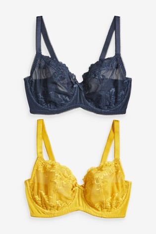 Navy/Ochre Lizzie DD+ Non Padded Lace Balcony Bras 2 Pack