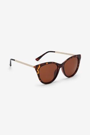 Tortoiseshell Effect Cat Eye Polarised Sunglasses