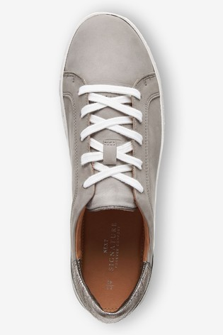Buy Grey Signature Leather Trainers