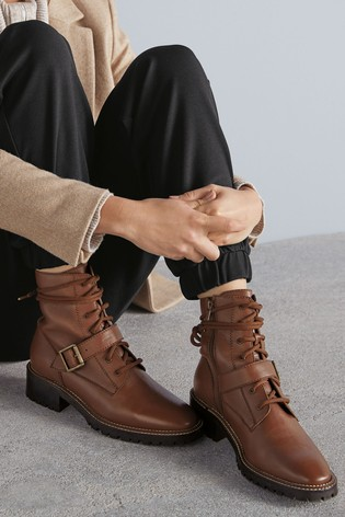Tan Signature Leather Lace-Up Boots