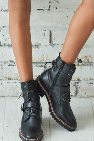 Black Signature Leather Lace-Up Boots