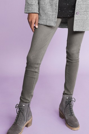 Grey Signature Heeled Cleat Lace-Up Boots