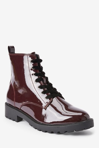 Burgundy Forever Comfort® Cleat Sole Lace-Up Ankle Boots