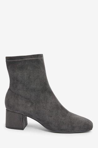 Grey Block Heel Sock Boots