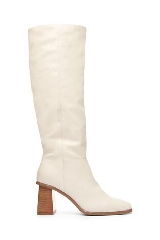 Buy Cream Flare Heel Knee High Boots
