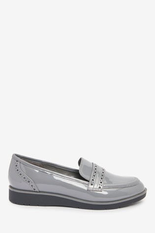 Grey Patent Forever Comfort™ Brogue Detail Chunky Sole Loafers
