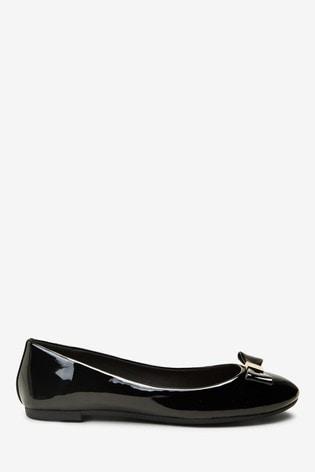 Black Hardware Bow Ballerina Shoes