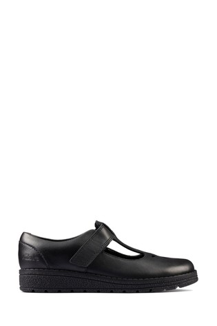 Clarks Black Leather Mendip Joy KIds Shoes
