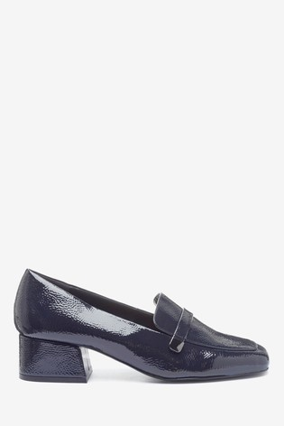 Navy Low Block Hardware Loafers